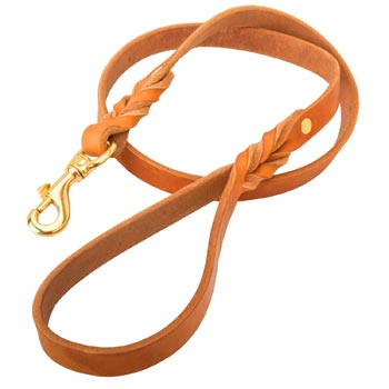 Custom Leather Mastiff Leash Tan-Colored for Dog Walking