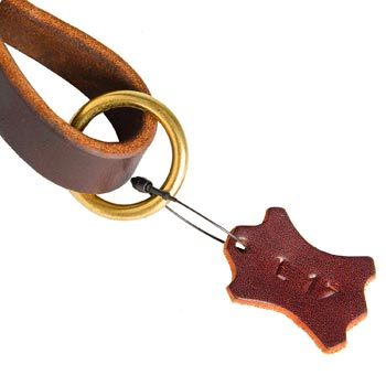 Leather Pull Tab for Mastiff with O-ring for Leash Attachment
