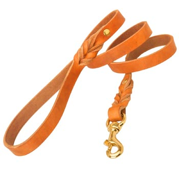 Training Tan Leather Dog Leash Skillfully Studded for Mastiff