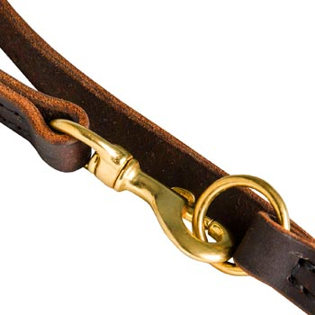Mastiff Leather Leash with Brass Snap Hook and O-ring