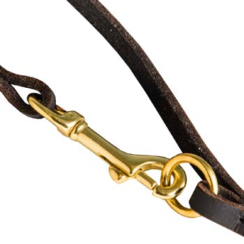 Leather Mastiff Leash with Brass Hardware for Dog Control