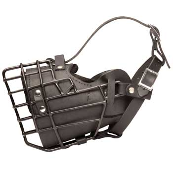 Leather Mastiff Muzzle Padded Metal Basket
